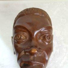 Arte: ESCULTURA CABEZA HOMBRE AFRICANO MADERA MACIZA MUY PESADA. Lote 177428993