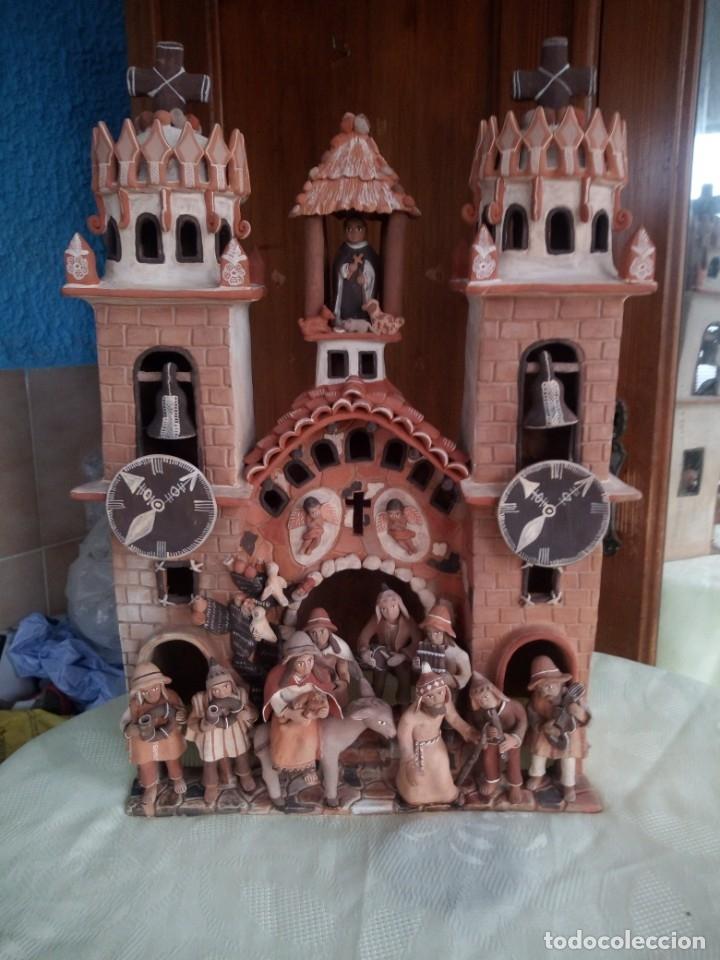 Arte: iglesia cerámica magno huasacca,suyjaruna,con personajes.artesanía,muy detallada.años 70/80,peru - Foto 2 - 177954178