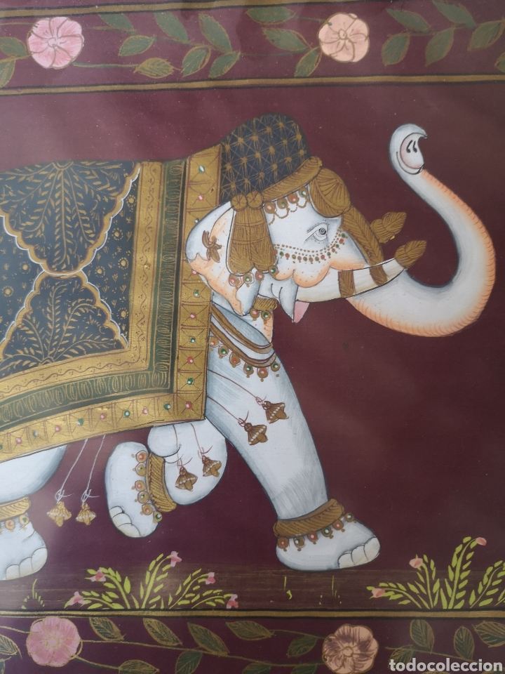 Arte: Pintura oriental,elefante, pintado sobre seda 55x36cm enmarcado - Foto 2 - 178282562