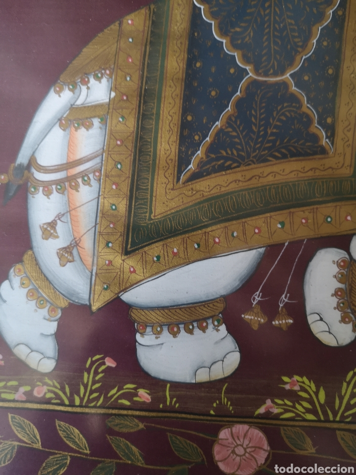 Arte: Pintura oriental,elefante, pintado sobre seda 55x36cm enmarcado - Foto 3 - 178282562