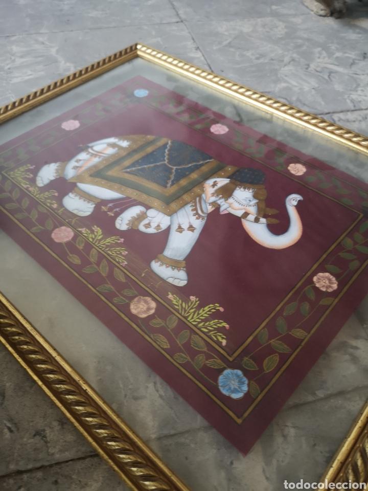 Arte: Pintura oriental,elefante, pintado sobre seda 55x36cm enmarcado - Foto 4 - 178282562