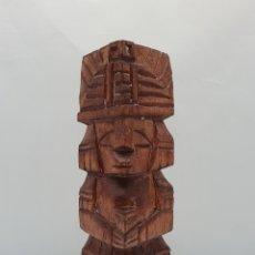 Arte: ESCULTURA ANTIGUA AZTECA DE TÓTEM MEXICANO EN MADERA TALLADO A MANO POR INDÍGENAS MIXTECOS .. Lote 178305150