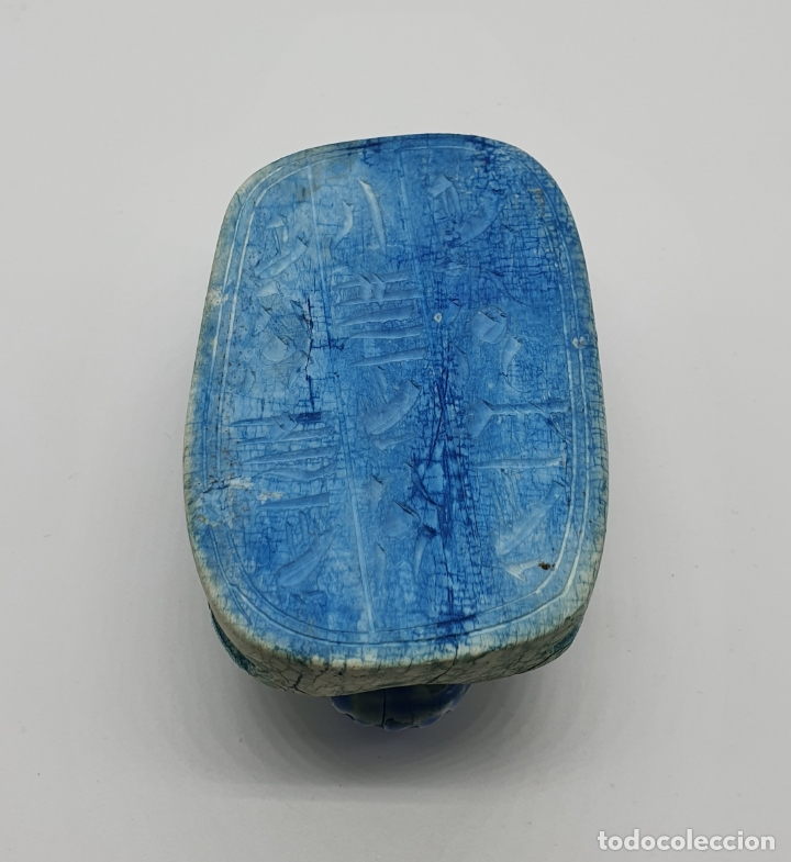 Arte: Amuleto de vida y poder egipcio ( Escarabeo ), en piedra tallada a mano con motivos jeroglíficos . - Foto 6 - 178307132