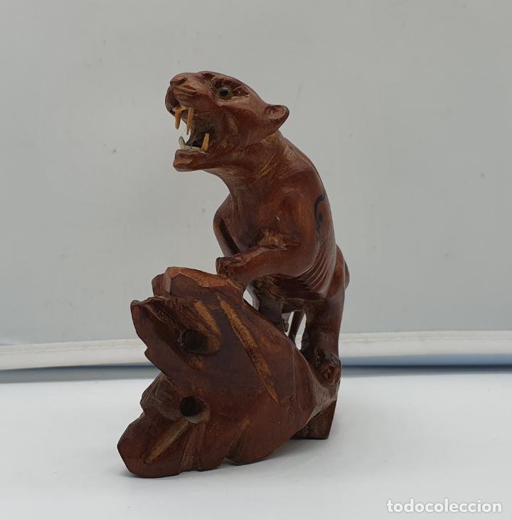 Arte: Talla antigua de pantera asiática en madera noble con ojos de cristal . - Foto 4 - 178311153