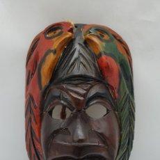 Arte: MASCARA ANTIGUA EN MADERA BELLAMENTE TALLADA A MANO POR INDÍGENAS DE LA AMAZONIA BRASILEÑA .. Lote 178312023