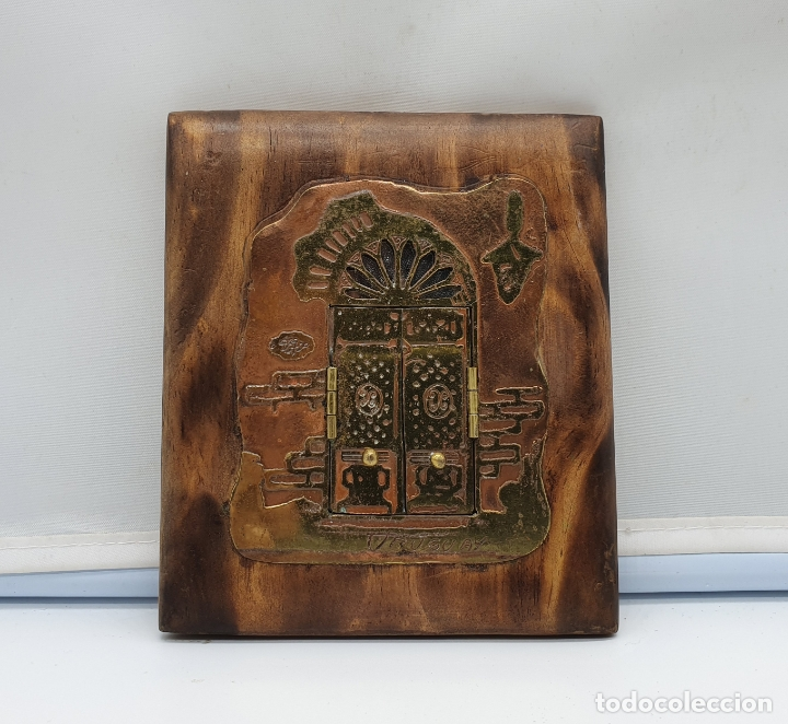 Arte: Espejo antiguo modernista de bolsillo en madera y latón tallado a mano y firmado por el artista . - Foto 6 - 178338305