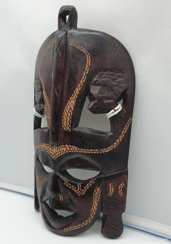Arte: Mascara antigua africana en madera tallada a mano . - Foto 4 - 178347727
