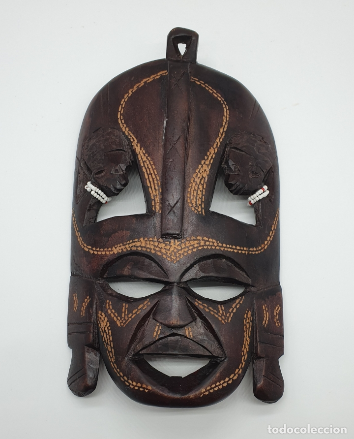 Arte: Mascara antigua africana en madera tallada a mano . - Foto 5 - 178347727