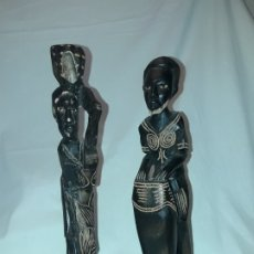 Arte: BELLA PAREJA TALLAS DE MADERA AFRICANA. Lote 216407281