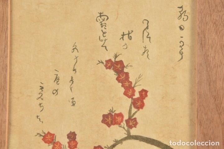 Arte: Acuarela China colores, plantas, firmada, Asia - Foto 2 - 178830491