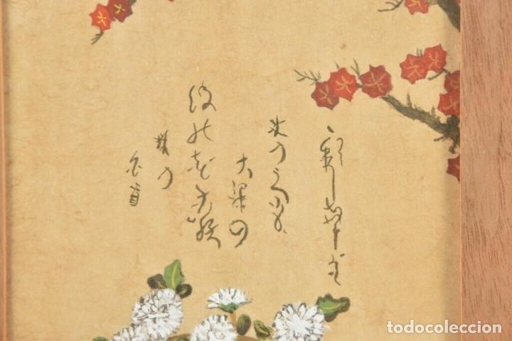 Arte: Acuarela China colores, plantas, firmada, Asia - Foto 3 - 178830491