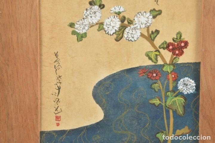 Arte: Acuarela China colores, plantas, firmada, Asia - Foto 4 - 178830491