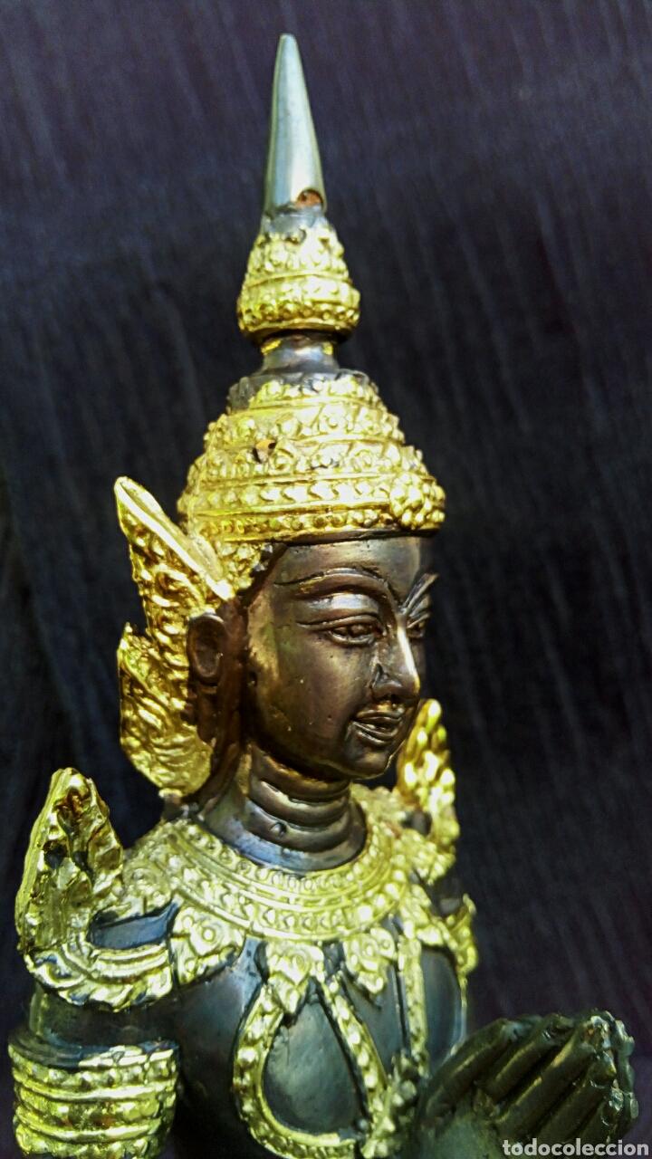Arte: Guardian del templo. Thepanom. Figura de bronce dorado. Circa 1960. Tailandia. - Foto 8 - 178939703