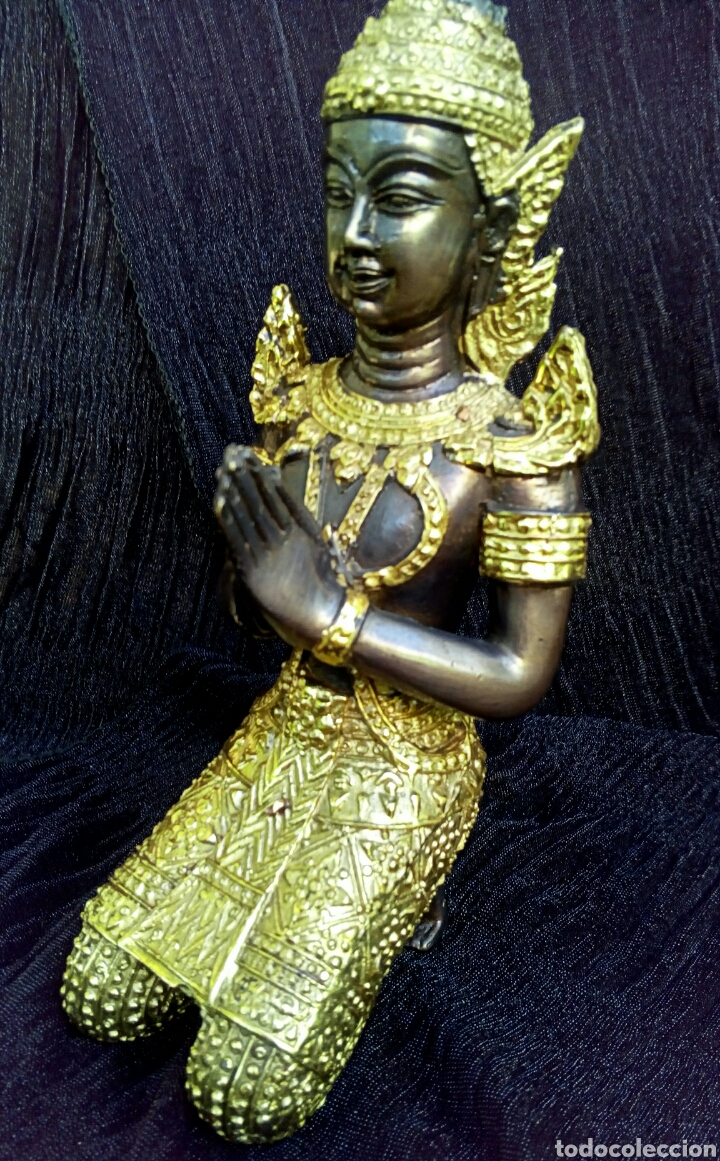 Arte: Guardian del templo. Thepanom. Figura de bronce dorado. Circa 1960. Tailandia. - Foto 13 - 178939703