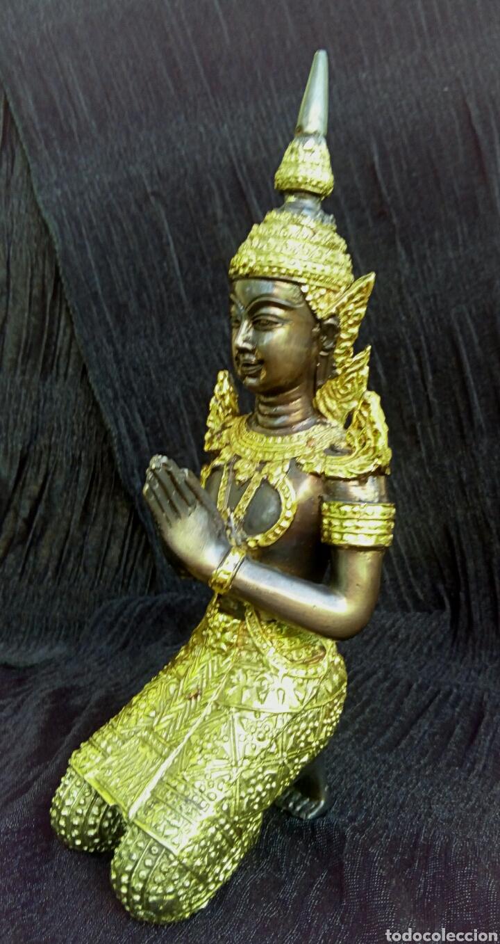 GUARDIAN DEL TEMPLO. THEPANOM. FIGURA DE BRONCE DORADO. CIRCA 1960. TAILANDIA. (Arte - Étnico - Asia)