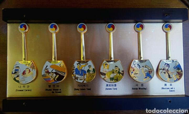 Arte: Cucharas coreanas de oficios asiaticos. Con esmaltes y oro de ley. En su estuche para ser espuestas. - Foto 2 - 179314563