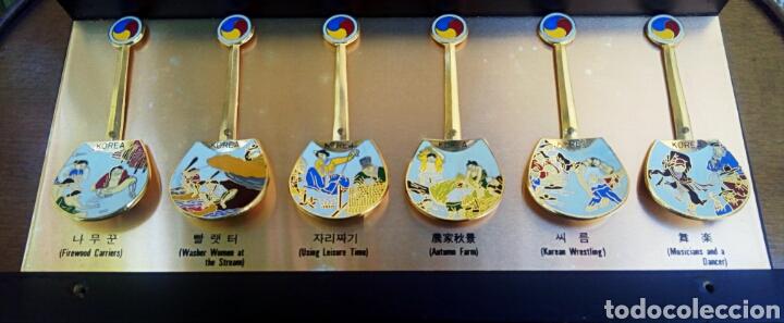 Arte: Cucharas coreanas de oficios asiaticos. Con esmaltes y oro de ley. En su estuche para ser espuestas. - Foto 10 - 179314563