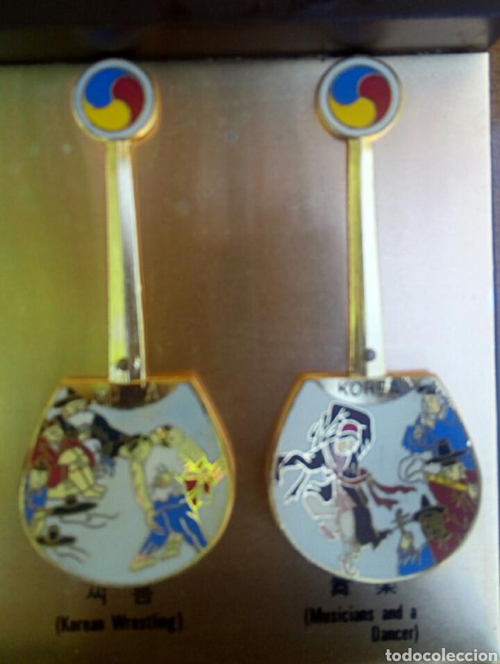 Arte: Cucharas coreanas de oficios asiaticos. Con esmaltes y oro de ley. En su estuche para ser espuestas. - Foto 11 - 179314563