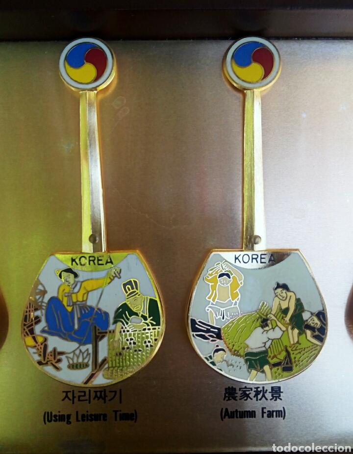 Arte: Cucharas coreanas de oficios asiaticos. Con esmaltes y oro de ley. En su estuche para ser espuestas. - Foto 12 - 179314563