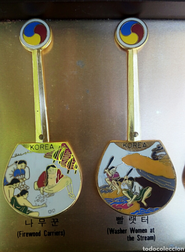 Arte: Cucharas coreanas de oficios asiaticos. Con esmaltes y oro de ley. En su estuche para ser espuestas. - Foto 13 - 179314563
