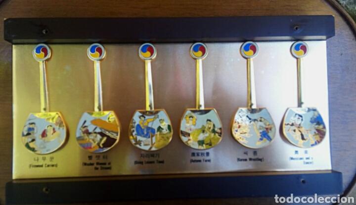 Arte: Cucharas coreanas de oficios asiaticos. Con esmaltes y oro de ley. En su estuche para ser espuestas. - Foto 14 - 179314563
