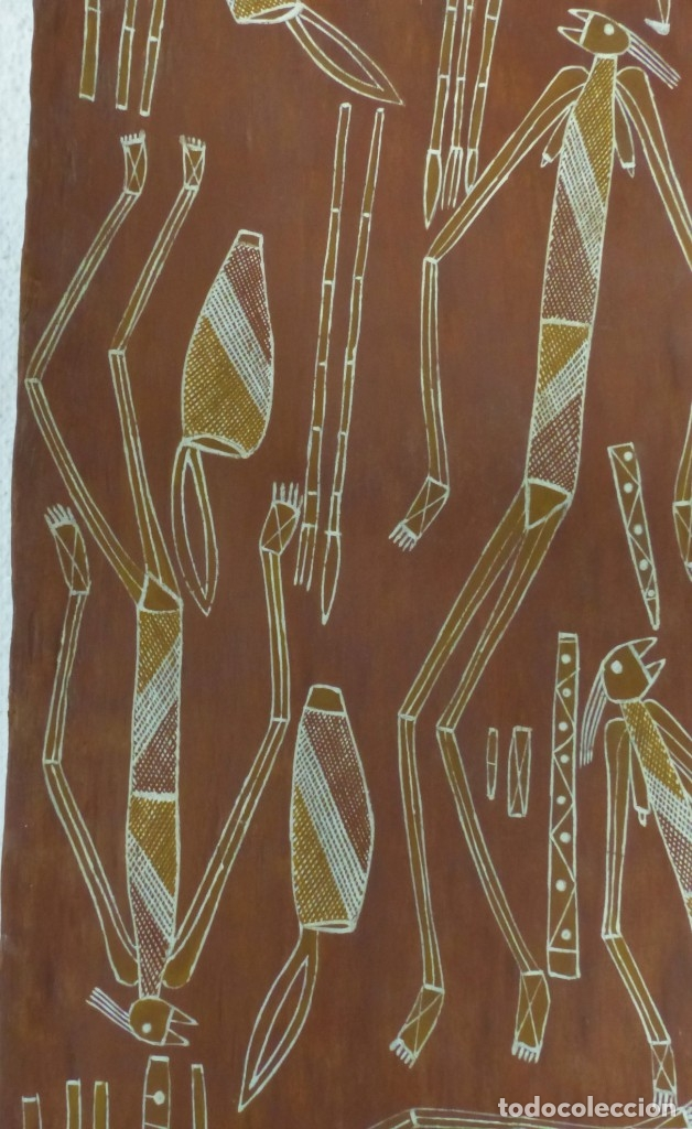 Arte: LARRY BANGARR - PINTURA - CORTEZA DE EUCALIPTO - PINTOR ABORIGEN - AUSTRALI - CON CERTIFICADO - Foto 2 - 179338675