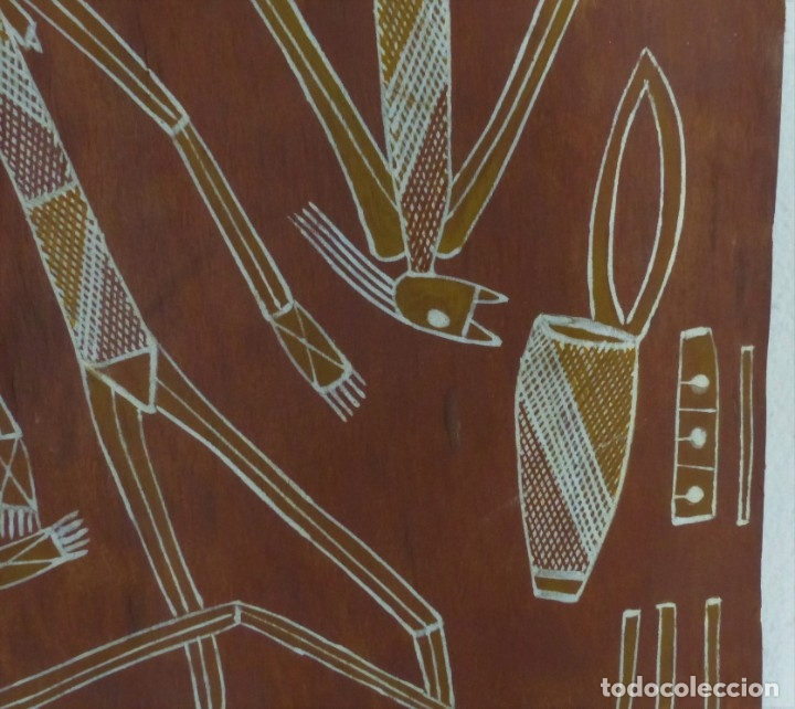 Arte: LARRY BANGARR - PINTURA - CORTEZA DE EUCALIPTO - PINTOR ABORIGEN - AUSTRALI - CON CERTIFICADO - Foto 4 - 179338675