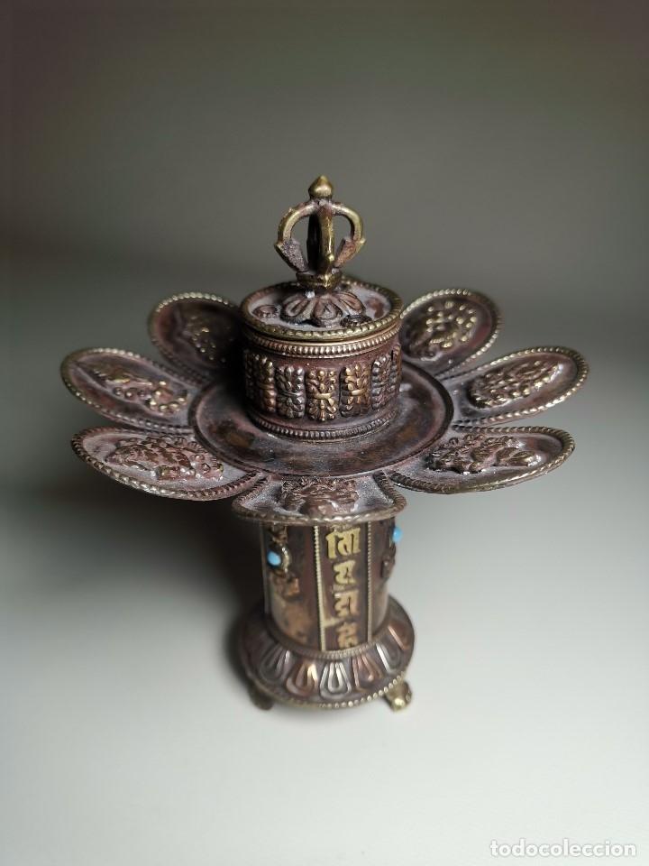 Arte: Antiguo Quemador de incienso tibetano -INCENSARIO CHINA - tibet -flor de loto - Foto 6 - 179954808