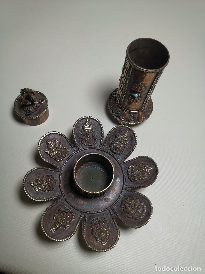 Arte: Antiguo Quemador de incienso tibetano -INCENSARIO CHINA - tibet -flor de loto - Foto 15 - 179954808
