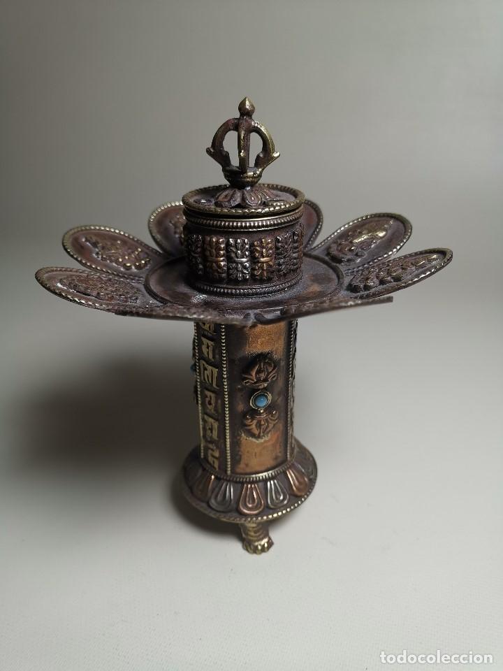 Arte: Antiguo Quemador de incienso tibetano -INCENSARIO CHINA - tibet -flor de loto - Foto 21 - 179954808