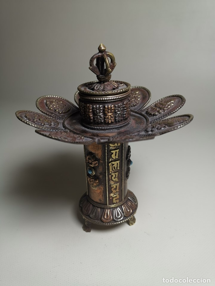 Arte: Antiguo Quemador de incienso tibetano -INCENSARIO CHINA - tibet -flor de loto - Foto 22 - 179954808