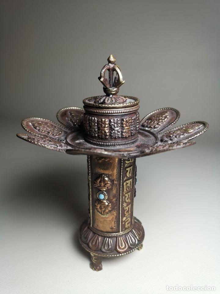 Arte: Antiguo Quemador de incienso tibetano -INCENSARIO CHINA - tibet -flor de loto - Foto 26 - 179954808