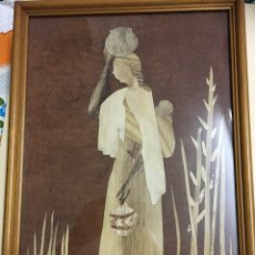 Arte: CUADRO AFRICANO ENMARCADO REALIZADO CON LAMINAS DE MADERA. Lote 180135066
