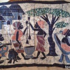 Art: GRAN TAPIZ AFRICANO KENIA PINTADO A MANO. 122X77CM. Lote 180240693