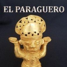 Arte: CHAMAN RITUAL FUNEBRE FIGURA PRECOLOMBINA QUIMBAYA DE ORO TUMBAGA PESO 71,1 GRAM - N5. Lote 180951643