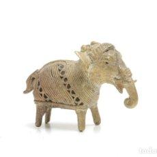 Arte: ELEFANTE AFRICANO VINTAGE DE FILIGRANA DE LATÓN, ANIMALES DE LATÓN, FIGURAS VINTAGE DE LATÓN, PISAPA. Lote 180973996