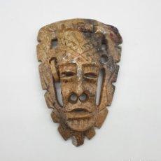Arte: ORIGINAL MASCARA ANTIGUA MEXICANA EN PIEDRA TALLADA A MANO DE ESTILO AZTECA .. Lote 181213385