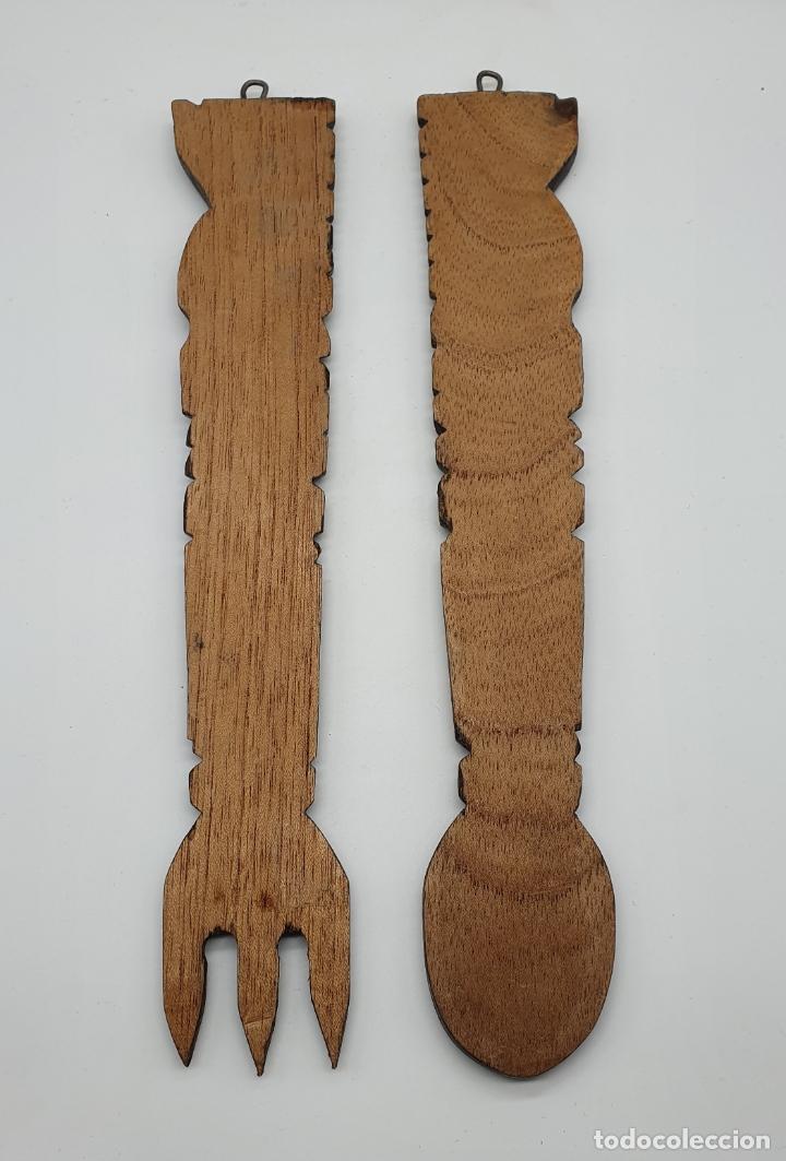 Arte: Original juego de cubiertos de servir en madera tallada a mano con caras en relieve, hecho en Mexico - Foto 3 - 181213762