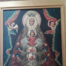 Arte: NUESTRA SEÑORA LA VIRGEN DEL ROCIO. CUADRO AL ÓLEO ARTE CUZQUEÑO. ENMARCADO. Lote 181573343