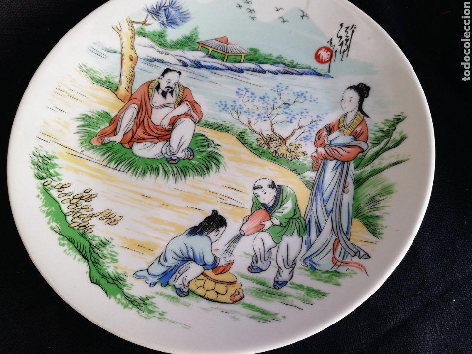 Arte: Pareja platos antiguos de porcelana China Dinastia Qing no firmado - Foto 3 - 181575706