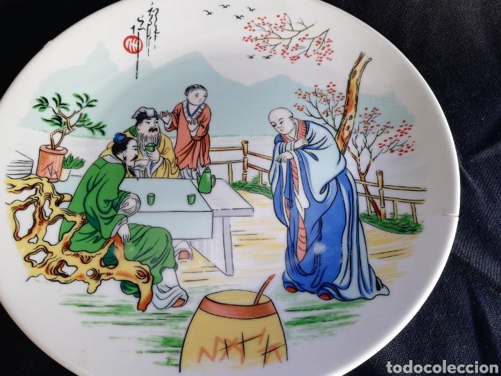 Arte: Pareja platos antiguos de porcelana China Dinastia Qing no firmado - Foto 7 - 181575706