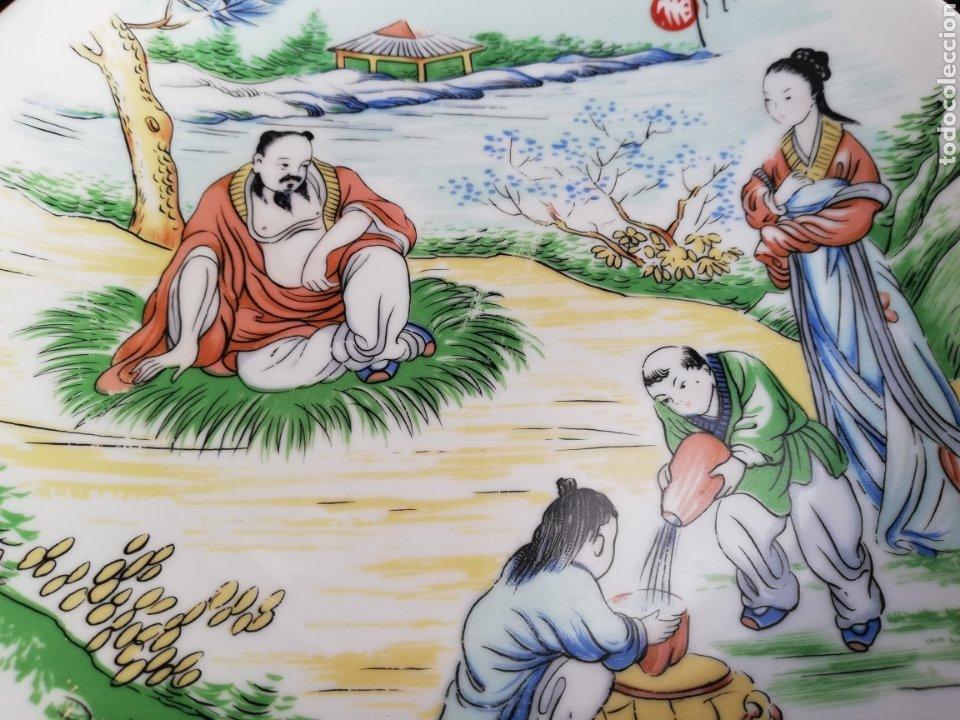 Arte: Pareja platos antiguos de porcelana China Dinastia Qing no firmado - Foto 4 - 181575706