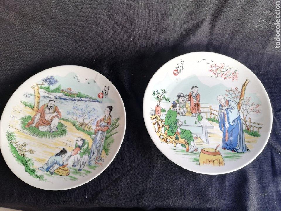 PAREJA PLATOS ANTIGUOS DE PORCELANA CHINA DINASTIA QING NO FIRMADO (Arte - Étnico - Asia)