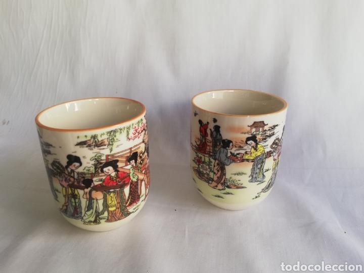 Arte: Tazas o vasos en ceramica china con sello y dibujos orientales - Foto 2 - 181980002