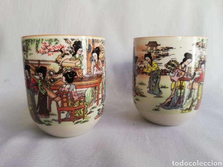 TAZAS O VASOS EN CERAMICA CHINA CON SELLO Y DIBUJOS ORIENTALES (Arte - Étnico - Asia)