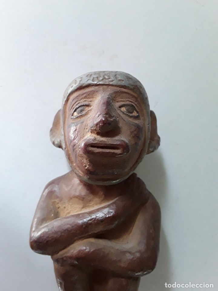 Arte: Figura de cerámica coloreada y pintada. Posiblemente de cultura azteca - Foto 2 - 182164238