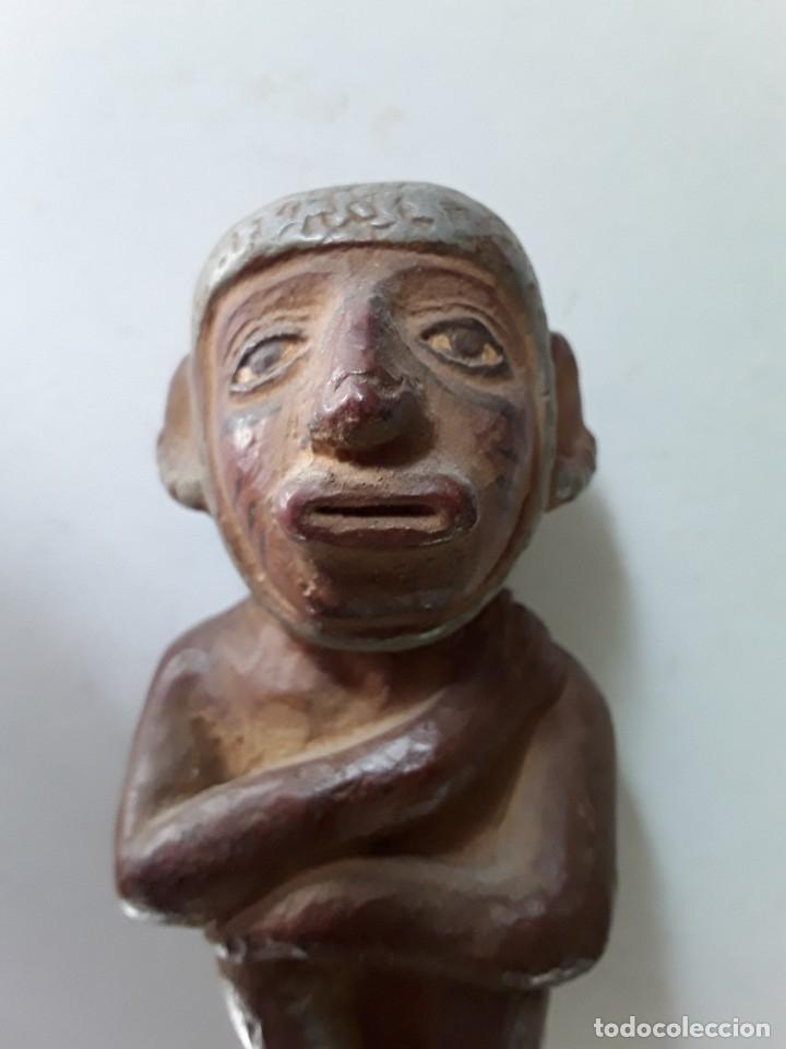 Arte: Figura de cerámica coloreada y pintada. Posiblemente de cultura azteca - Foto 8 - 182164238