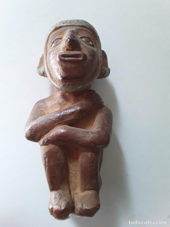 Arte: Figura de cerámica coloreada y pintada. Posiblemente de cultura azteca - Foto 9 - 182164238