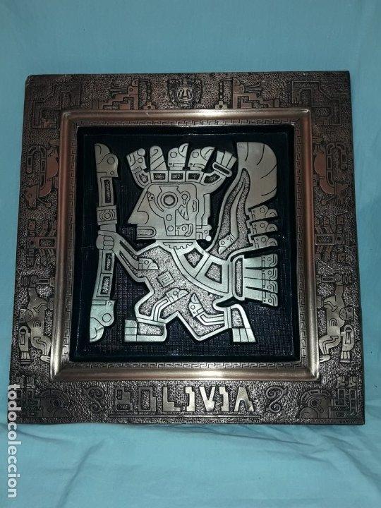 BELLO CUADRO TRABAJADO EN COBRE Y NÍQUEL REPUJADO DIOSES ORIGEN BOLIVIA FIRMADO MIGUEL CARNICA (Arte - Étnico - América)