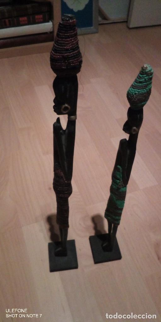 Arte: figuras pareja madera oscura africa de 58 y 51 centimetros de alto - Foto 4 - 182304633
